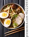 udon noodle soup, pork, boiled eggs, shiitake 46222693
