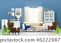 Living room background in modern rustic style 46222987