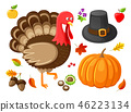 Pumpkin and Turkey Animal Thanksgiving Vector 46223134