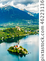 Aerial view of Lake Bled with the island in Slovenia 46223136