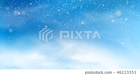 Snow winter background. Christmas sky landscape with cold cloud, blizzard, stylized and blurred