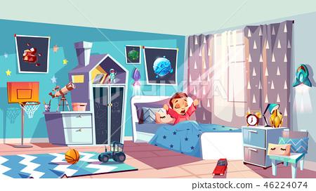 d11e9f8c3df Little girl waking up in bedroom vector - Stock Illustration ...
