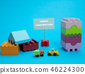 small sign stand under construction among toys 46224300