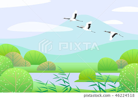 Simple Spring Lanscape with Flying Japanese Cranes 46224518