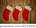 red Christmas stocking on old wooden background 3D rendering 46224640