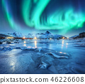 Northern lights above snowy mountains, frozen sea 46226608