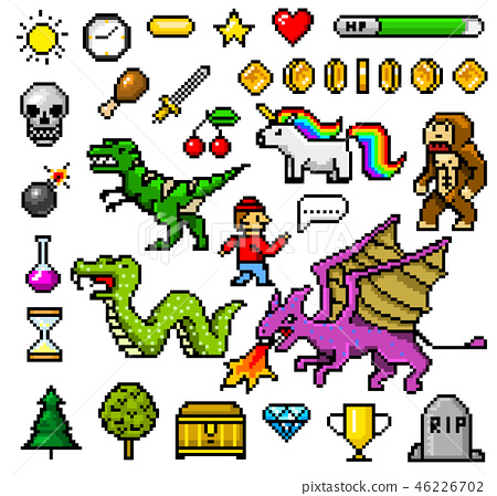 Pixel Art 8 Bit Objects Retro Game Assets Set Stock
