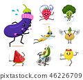 Sports fruit characters. Set of Cute healthy vegetables and funny face berries. Happy food 46226709
