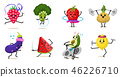 Sports fruit characters. Set of Cute healthy vegetables and funny face berries. Happy food 46226710