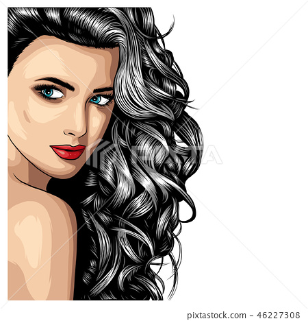 Beautiful fashion woman vector portrait. Hand drawn illustration for black and white print, greeting 46227308