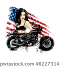 Beautiful biker girl with her motorcycle and american flag 46227314