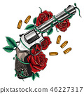 rose, gun, tattoo 46227317