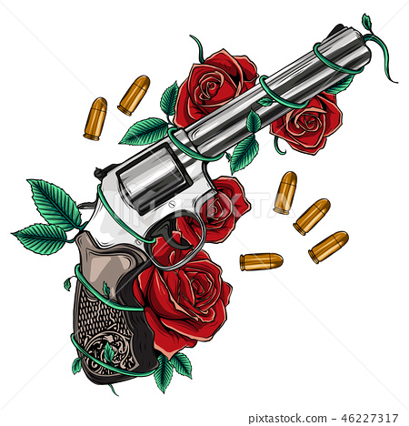 Pair of crossed guns and rose flowers drawn in tattoo style. Vector illustration. 46227317