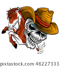 vector illustration skull cowboy ride a horse 46227333