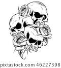 skull, rose, vector 46227398