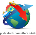Traveling by Plane. Airplane in Sky with Sun, World Map and Clouds. Flight Design Template. Paper 46227444