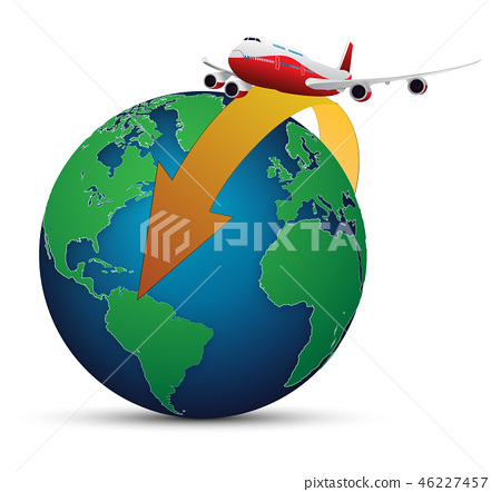 vector illustration of world tour in airplane 46227457