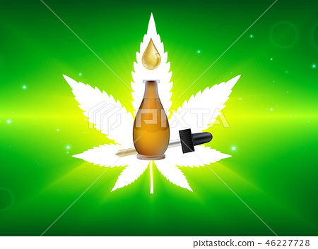 Marijuana plant and cannabis oil bottles vector. 46227728