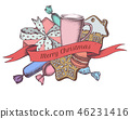 Vector composition with colored gingerbread, macaron, candies, tea cup, toy horse 46231416