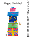 Happy Birthday with stacked gift boxes 46232027