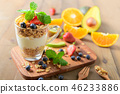 Granola and yogurt and fruits on topping in glass 46233886