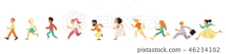 People of different age and gender in casual clothing running in flat style. 46234102