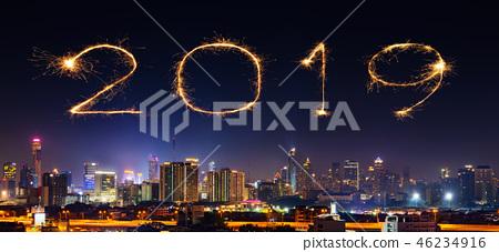 2019 Happy new year firework with Bandkok city 46234916