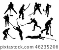 Hockey Player Sports Silhouettes 46235206