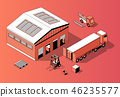 3d isometric warehouse with truck, forklift 46235577