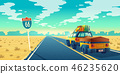 tourist concept - desert with jeep, trailer 46235620