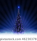 Christmas blue postcard with shiny Christmas tree with rays of light. 46236378