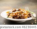 Homemade whole grain pasta penne 46236445
