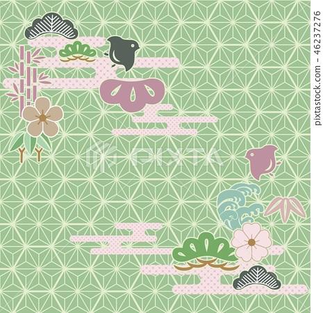 Japanese background vector. Green geometric  46237276