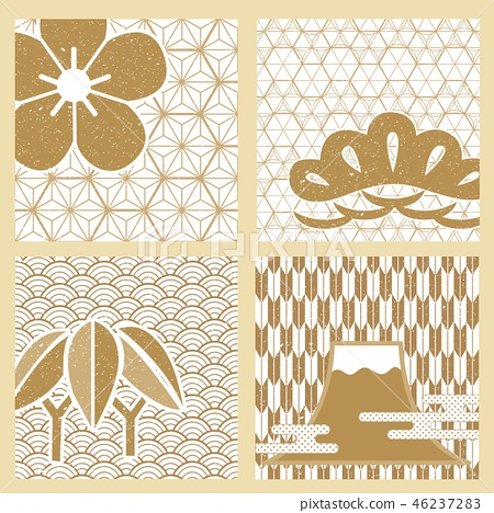 Japanese icon pattern vector. Gold card symbols  46237283