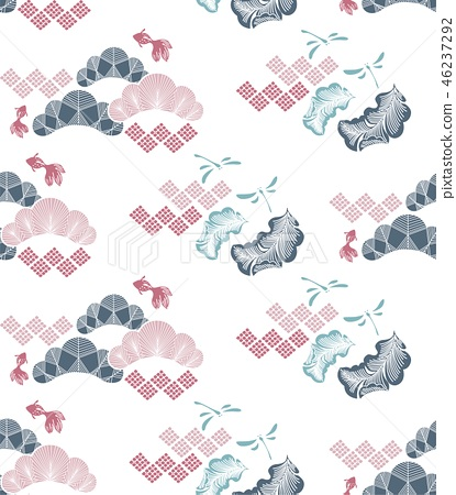 Gold fish and pine tree pattern in Japanese style. 46237292