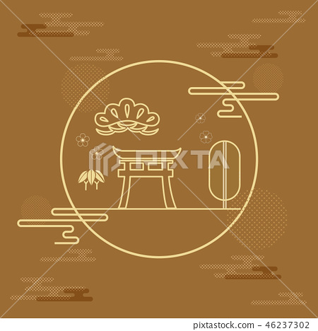 Japanese template vector. Line background pattern. 46237302