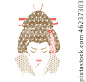 Geisha vector. Japanese woman with pattern  46237303