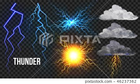 Thunder, Lightnigs Set Vector. Bolt, Night Sky Magic Bright Sparkle Effect. Fireball, Rain, Cloudy 46237362