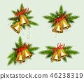 Christmas composition of spruce green branches with snowflakes and golden bells, design element. 46238319