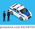 Policemen Standing Near Vehicle Vector Poster 46238700