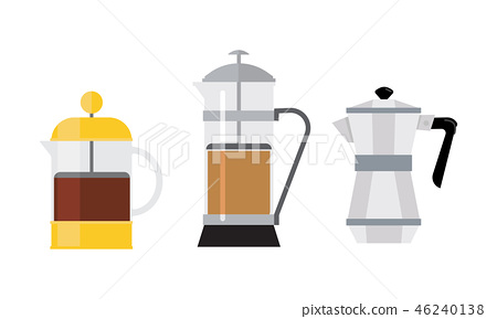 Flat vector set of 3 different coffee makers. Tasty drink. Hot beverage. Elements for promo poster 46240138