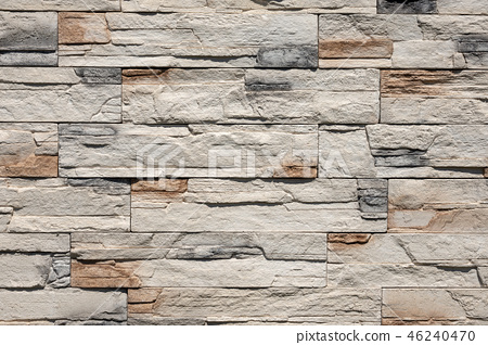 Wall with Rectangular Stones - Background 46240470