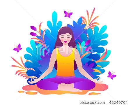 Young woman meditates 46240704