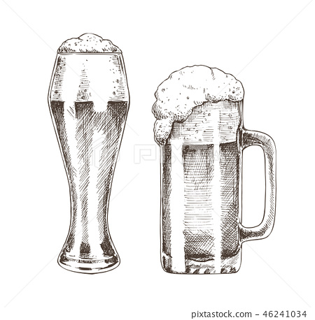Tasty Ale with Foam Poured into Various Goblets 46241034