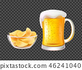 Beer in Mug with Foam and Chips in Bowl for Snack 46241040