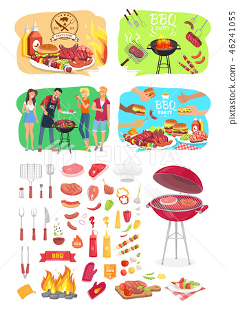 BBQ Grill Party Time Posters Vector Illustration 46241055