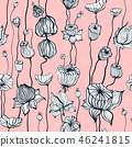 Vintage Seamless pattern with hand drawn Abstract Flowers 46241815
