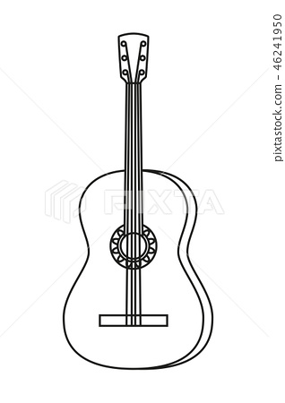 Line art black and white acoustic guitar 46241950