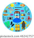 Diver with diving equipment 46242757