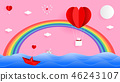 Red heart shape balloon on the sky with beautiful  46243107